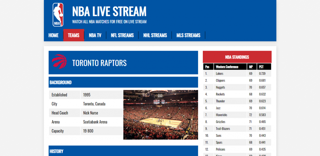 Watch Toronto Raptors Live Stream Games Free