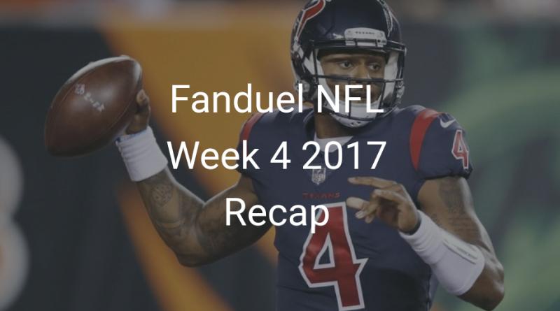 Fanduel NFL Week 4 Recap